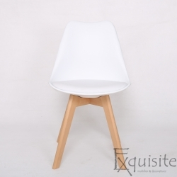 Scaun alb tapitat partial cu piele ecologica, Set 4 Scaune