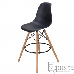 Scaun de bar cu picioare din lemn, inaltime 71 cm, design Eames