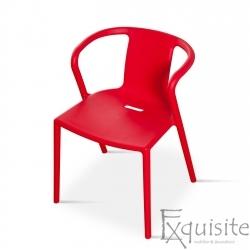 Scaun cu brate din plastic pentru terasa, Set 4 scaune