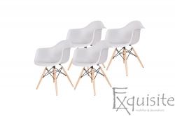 Scaun din plastic cu picioare din lemn - Set 4 bucati - EX082 Gri deschis