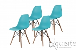Scaun din plastic turcoaz cu picioare din lemn, Set 4 Scaune