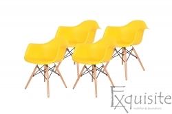 Scaun galben din plastic cu picioare din lemn - Set 4 bucati