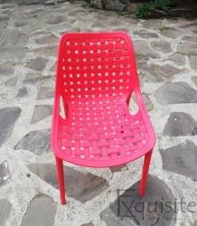 Scaun pentru terasa, bucatarie, Set 4 bucati, rosu