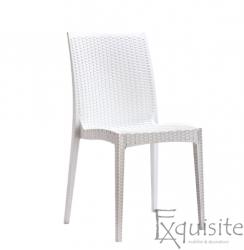 Scaun din impletitura din plastic, set 4 bucati, imitatie ratan, alb