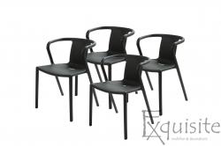 Scaun negru din plastic pentru terasa, Set 4 Scaune, EX090