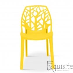Scaun stivuibil pentru terasa, plastic galben, EX093