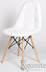 Scaun tapitat alb cu piele ecologica - Set 2 scaune