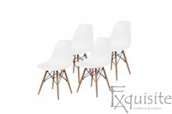 Scaune de bucatarie - Set 4 bucati - design modern cu picioare din lemn, EX071, alb