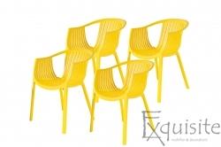 Scaune de bucatarie din plastic - Set 4 Scaune - galben, verde, alb, portocaliu, negru, rosu