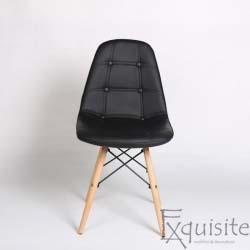 Scaun de bucatarie din piele ecologică si picioare din lemn