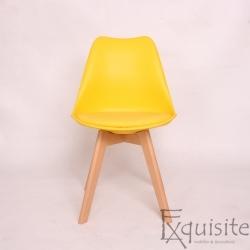 Scaun galben din plastic cu piele ecologica, Set 4 bucati