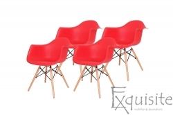 Scaune de bucatarie cu brate si picioare din lemn, tip Eames