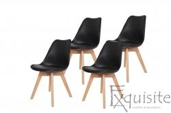 Scaune negre, sezut din piele ecologica, Set 4 scaune
