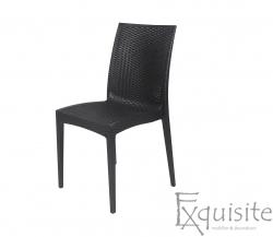 Scaun negru pentru terasa - set 4 bucati - plastic imitatie impletitura ratan