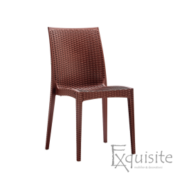 Scaun din plastic pentru terasa, Set 4 bucati, imitatie ratan, maro