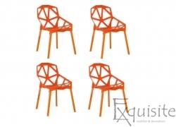 Set 4 scaune portocalii din plastic cu picioare metalice, design Spider
