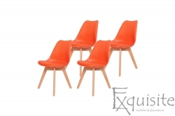 Scaune de bucatarie - set 4 bucati - tapitate partial cu piele ecologica, design Eames, colorate