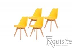 Scaune de bucatarie - set 4 bucati - tapitat cu piele ecologica, design Eames, colorate