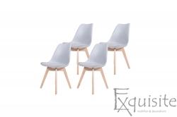 Scaune bucatarie, scaune living, 4 bucati - tapitat cu piele ecologica, Eames