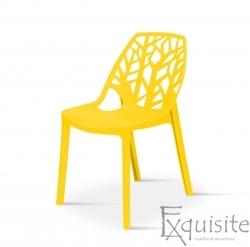 Set 4 scaune pentru terasa, PP, rezistente, galben