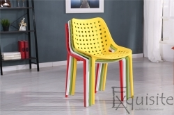 Scaune pentru bucatarie, terasa, set 4 bucati - EX047, galben