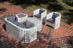 Canapea cu fotolii din ratan artificial