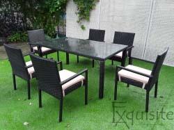 Masa cu sase scaune pentru gradina din ratan sintetic