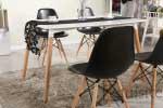 Masa de bucatarie, living MDF cu picioare din lemn, design Eames, EX10123
