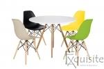 Masa rotunda din MDF 100cm cu 4 scaune pentru bucatarie0