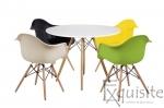 Masa rotunda din MDF cu 4 scaune pentru bucatarie / living0