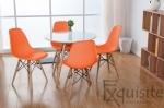 Masa rotunda din mdf cu 4 scaune tip Eames 2