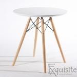 Masa rotunda din MDF cu picioare din lemn, diametru 80cm, blat alb0