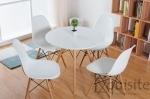 Masa rotunda din MDF cu picioare din lemn, diametru 80cm, blat alb2