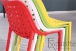 Scaun de bucatarie din plastic, Exquisite, rosu. galben, alb1
