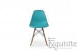 Scaun din plastic turcoaz cu picioare din lemn, Set 4 Scaune1