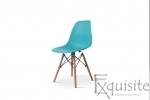 Scaun din plastic turcoaz cu picioare din lemn, Set 4 Scaune2