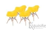 Scaun galben din plastic cu picioare din lemn - Set 4 bucati0