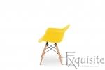 Scaun galben din plastic cu picioare din lemn - Set 4 bucati2
