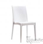 Scaun din impletitura din plastic, set 4 bucati, imitatie ratan, alb0