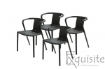 Scaun negru din plastic pentru terasa, Set 4 Scaune, EX0900