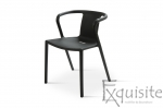 Scaun negru din plastic pentru terasa, Set 4 Scaune, EX0902