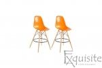 Scaune de bar din plastic cu picioare din lemn - Set 2 bucati - diverse culori4