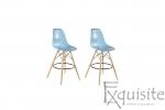 Scaune de bar din plastic cu picioare din lemn - Set 2 bucati - diverse culori3