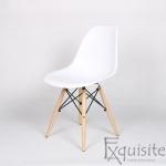Scaune de bucatarie - Set 4 bucati - design modern cu picioare din lemn, EX071, alb 2