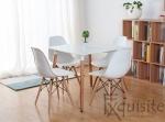 Scaune de bucatarie - Set 4 bucati - design modern cu picioare din lemn, EX071, alb 4