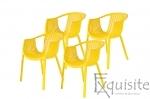 Scaune de bucatarie din plastic - Set 4 Scaune - galben, verde, alb, portocaliu, negru, rosu0