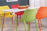 Scaun de bucatarie din plastic, Exquisite, rosu. galben, alb4