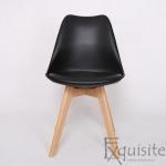 Scaune negre, sezut din piele ecologica, Set 4 scaune1