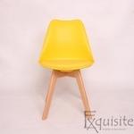 Scaun galben din plastic cu piele ecologica, Set 4 bucati0