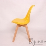 Scaun galben din plastic cu piele ecologica, Set 4 bucati2